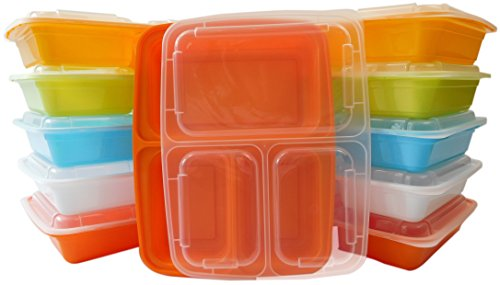 Table To Go 240-Pack Bento Lunch Boxes with Lids (3 Compartment/ 36 oz) | Microwaveable, Dishwasher & Freezer Safe Meal Prep Containers | Reusable Dish Set for Prepping (Multicolor Pack)