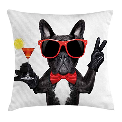 Ambesonne Funny Throw Pillow Cushion Cover, French Bulldog Holding Martini Cocktail Ready for The Party Nightlife Joy Print, Decorative Square Accent Pillow Case, 20' X 20', White Black