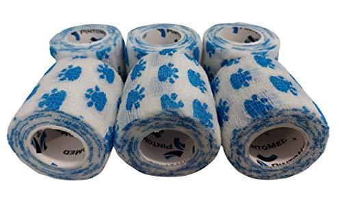 Venda Cohesiva Dibujo DE Patas 6 Rollos x 5 cm x 4,5 m Autoadhesivo Flexible Vendaje, Calidad Profesional, Primeros Auxilios, Lesiones de los Deportes, Rodillos embalados Individualmente - Pack de 6