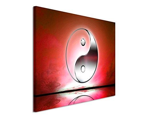 Paul Sinus Art XXL Fotoleinwand 120x80cm Naturfotografie – Yin und Yang Zeichen mit roten Hintergrund auf Leinwand Exklusives Wandbild Moderne Fotografie für ihre Wand in vielen Größen
