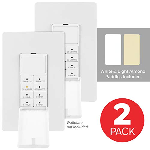 UltraPro, White Honeywell Wall Push-Button Timer Switch 2 Pack, 5-15-30 Minute/1-2-4-6-8 Hour Countdown, Neutral Wire Required, Single-Pole, Ideal for Exhaust Fans, Seasonal Lighting, 47939