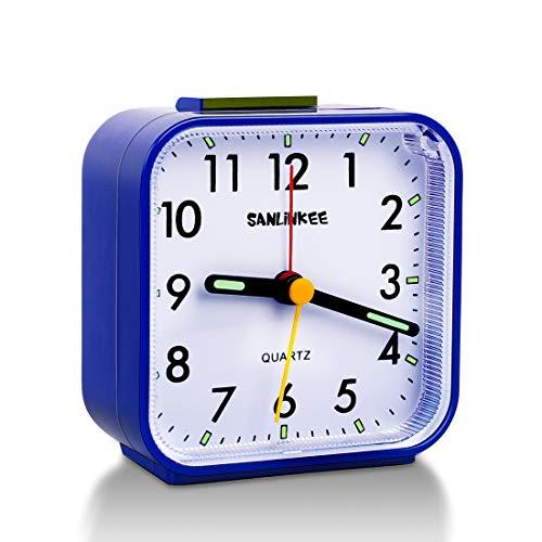 Wecker Analog Ohne Ticken Reisewecker mit Schlummerfunktion und Licht,Kein Ticken, Geräuschlos, Crescendo-Alarm,Batteriebetrieben Wecker (Blau