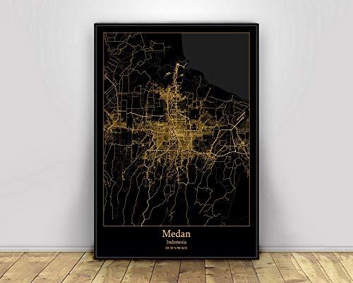Prints Canvas, Medan Indonesia Black&Gold City Light Maps Custom World City Map Posters Canvas Prints Nordic Style Wall Art Home Decor 60X90CM