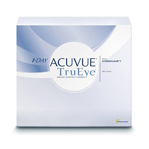 ACUVUE 1-DAY TruEye Tageslinsen – Tageskontaktlinsen mit 4 dpt & BC 9 – UV Schutz & hoher Tragekomfort – 180 Linsen