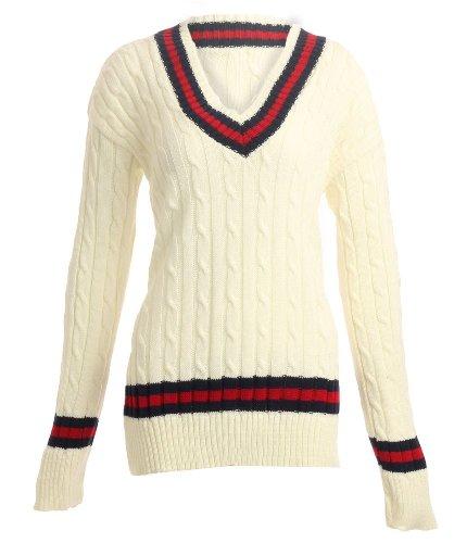 Damen Cricket-Pullover mit Zopfmuster, Gr. 34-40, cremefarben