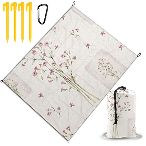 Review Of Outdoor Picnic Blanket 67x57inch Watercolor Flowers Pattern Foldable Waterproof Extra Larg...