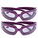 Haoun 2 Pack Onion Goggles Tear Free Kitchen Eye Glasses Onion Cutting Goggles with Inside Sponge (Purple)