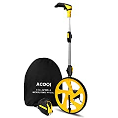 "ACOOJ MEASURING WHEEL WITH PISTOL GRIP:Measures in feet/inches.The handle folds in tri and has a built-in carrying handle making it easy to transport and store in the backpack (included). Unfolded it extends to 40"" and it folds down to 16"". IMPERIAL ..."