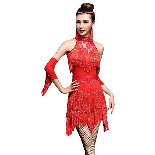 G-like Damen Latein Tanz Kleider - Modern Dance Latin Party Gesellschaftstänze Dekoration Zubehör Pailletten Quasten Tanzkleid Trikot Rock Kostüm Bekleidung für Frauen (Rot, M)