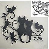 YunTrip - Fustelle per la creazione di biglietti, motivo gatto animale e famiglia, in metallo, per fai da te, scrapbooking, album, goffratura, foto, artigianato, carta decorativa