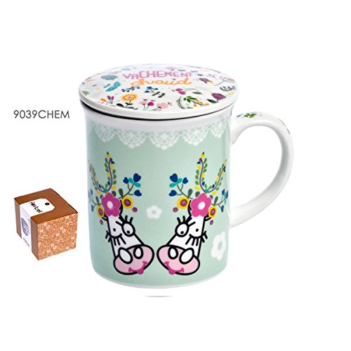 FOX TROT - 9039CHEM - MUG EN PORCELAINE + INFUSEUR EN METAL DECOR VACHEMENT FLEUR