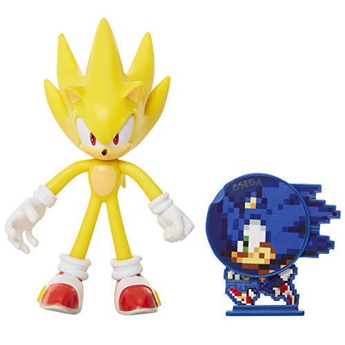 Sonic The Hedgehog Collectible Super Sonic 4' Bendable Flexible Action Figure with Bendable Limbs & Spinable Friend Disk Accessory Perfect For Kids & Collectors Alike for Ages 3+ (400574)