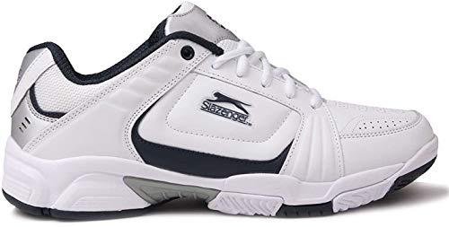 Slazenger Herren Tennis Sport Sneaker Schuhe Turnschuhe Tennisschuhe Weiß/Marineblau 8.5 (42.5)