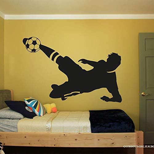 YuanMinglu Junge Schlafzimmer Wandtattoo Fußball Silhouette Wandaufkleber Farbe Kunst Dekoration 57x35cm