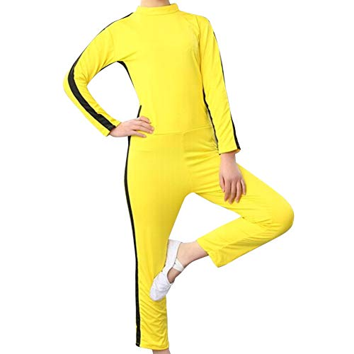 Gtagain Kampfsport Bekleidung Unisex Kinder Erwachsene Overall Kung Fu - Trend Fashion Kostüm Outfit Rollenspiel Body Anzug Kampf Film Kleidung Strampler Training Sportbekleidung Gelb