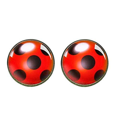 XKMY Pendientes de tuerca para mujer con diseño de mariquita, de cristal, con forma de círculo, para mujer, para fiestas, joyas, cristal, cabujón (color metálico: bronce)
