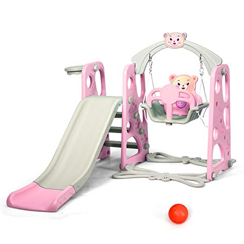 Costzon 4 in 1 Toddler Climber and Swing Set, Kids Play Climber Slide Playset with Basketball Hoop, Extra Long Slide and Ball, Easy Set Up Baby Playset for Indoor Outdoor Backyard (Pink Bear)