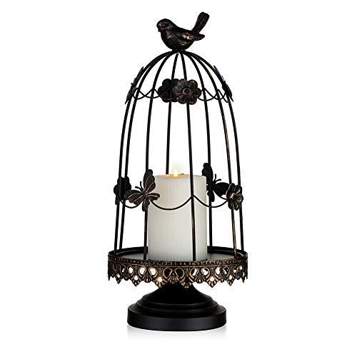 Sziqiqi Portavelas Decorativo para Jaula de Pájaros para Decoración Antigua, Apto para Flores Planter Velas Guirnalda Cupcake Display para Boda Centro de Mesa Decoración Navideña, Negro 38cm