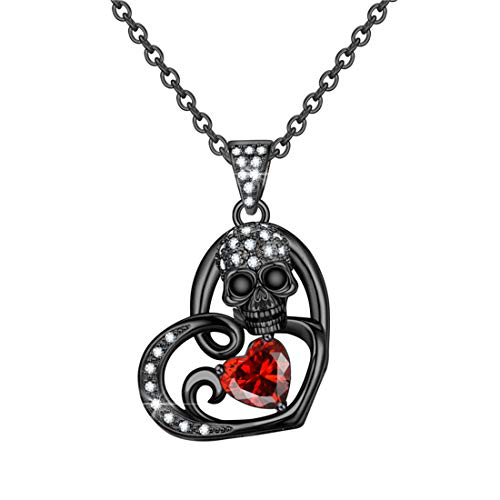 FLIUAOL Delicate Skull Pendants Gothic Heart Crystal Punk Rock Black Skull Necklace Jewelry Gifts for Women (C-Red)