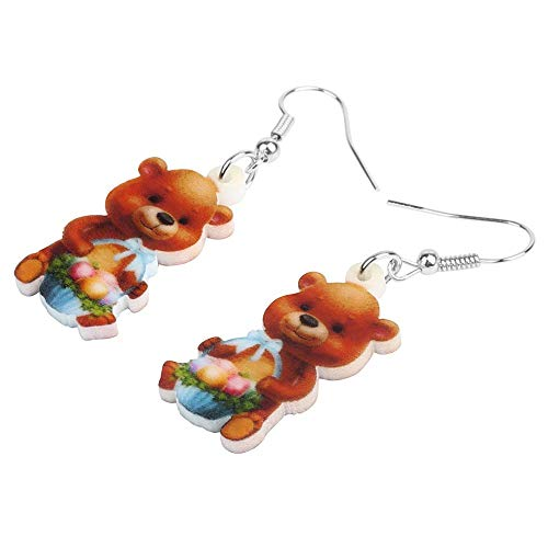ESIVEL Acryl Brown Easter Eggs Korb Bär Ohrringe Drucken Dangle Drop Schmuck für Frauen Mädchen Classic Festival Geschenkzubehör