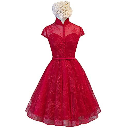 2021 Nuevo Vestido de Noche con Mangas Casquillo y Cuello Cheongsam, Vestido de Noche de Fiesta de Banquete, Vestido de Noche de Regreso a la Escuela-Big Red_52
