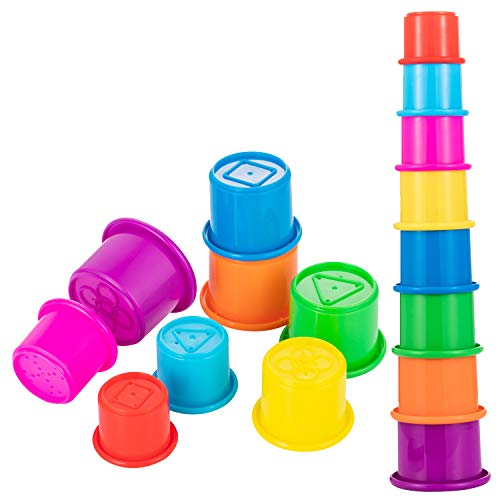Driddle Colorful Stacking & Nesting Cups - 8 Cups Fun Color Learning Toy - Great Bath & Beach Toy for Baby Toddler & Kids - Preschool Game