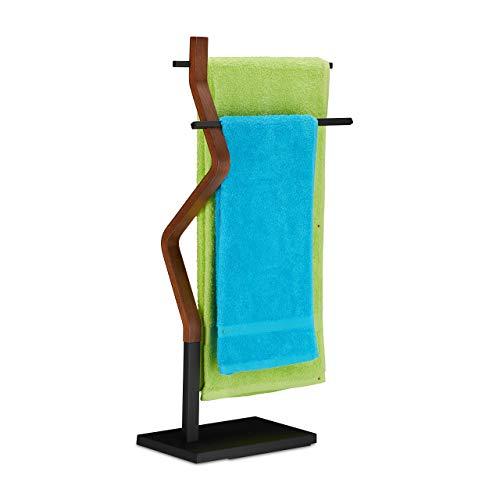 Relaxdays Handtuchhalter stehend, Handtuchständer, 2 Stangen, für Hand- & Geschirrtücher, Holz & Metall, schwarz/braun