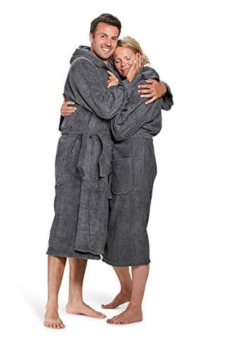 Badrock - Kapuzen-Bademantel mit Namen Bestickt - Grau - Baumwolle - Herren und Damen - mit Stickerei - Personalisiert (L/XL) - SKU 632