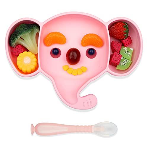 Yuccer Tovaglietta Antiscivolo Piatto Bambini Ventosa Piastre per Neonati in Silicone Piatto Diviso con Cucchiaio per Seggiolone Viaggi FDA e BPA Liberi Microonde Lavastoviglie Regalo (rosa)