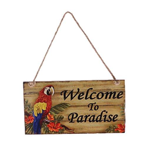 PETSOLA Holzschild Wandschild Vintage Retro Strandbar Urlaub Summer Beach Dekoschild - Welcome to Paradise, 20 x 10,8 cm