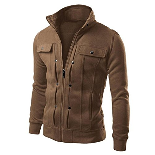 Landscap Mens Jacket Zip Up Coat Slim Fit Parka Warm Coat Big & Tall Military Cotton Outdoor Jacket with Stand Collar(Coffee,M)