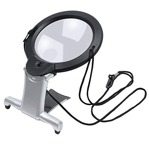 Lupe 2 in 1 Freihandlupe mit Beleuchtung für Lesen Sticken Nähen Handarbeit, Leselupe LED Lupe