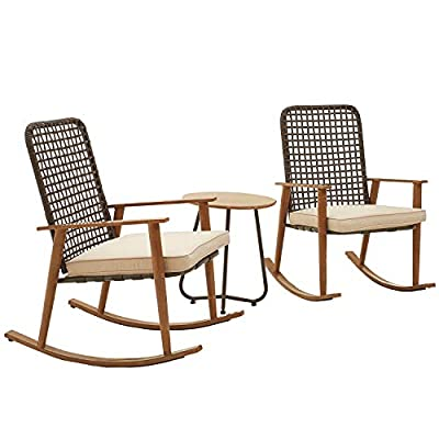 PatioFestival Patio Bistro Set Wood Grain Finish Outdoor Conversation Set Rocking Chairs with Coffee Table All Weather Frame (3Pcs, Khaki)