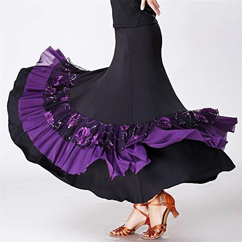 ACEACE Trajes de baile de salón de baile del bordado de baile del cuadrado de la falda larga de la Mujer de baile de salón Competencia Faldas (Color : Purple, Size : Medium)