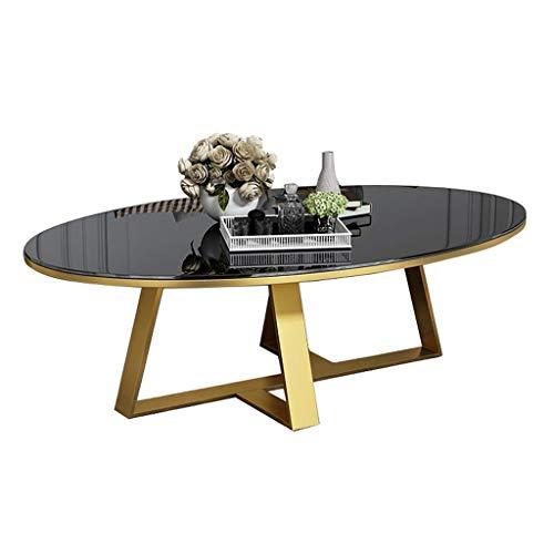Moderne ovale glazen salontafel, HD helder wit gehard glazen bijzettafeltje voor woonkamer decor, gouden metalen voet, 4