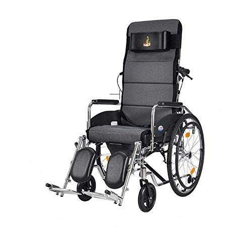 WLG Portable Wheelchairs 23Kg Transport Medical Control Backrest Seat 100Kg Load Bearing 47 45Cm Seat-Detachable D