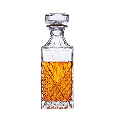 GXYNB Decanter in Vetro Artigianale e Set di Bicchieri da Whisky, Elegante Decanter per Whisky con Tappo Decorato per Bourbon,...