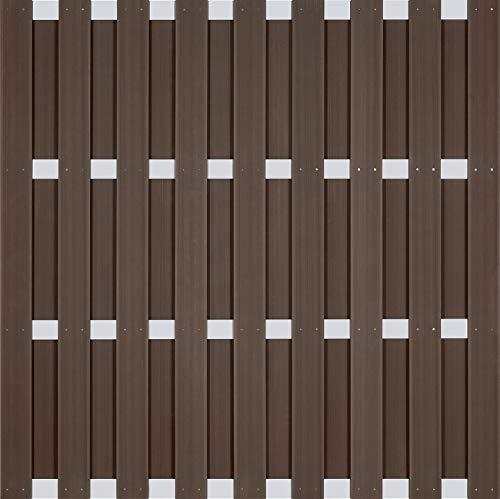 Holzwelt Gräf Exklusiv Sichtschutz Jumbo WPC Zaun Ibiza Gartenzaun Lamellenzaun mit silbernen Alu-Querriegeln und WPC-Lamellen braun (10 Zäune 180x180cm + 11 Alupfosten = 18,88m Länge)
