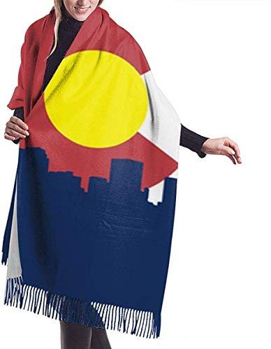 yongding Colorado Flag City Damen Schal Große weiche seidige Pashmina Kaschmir Schal Wrap