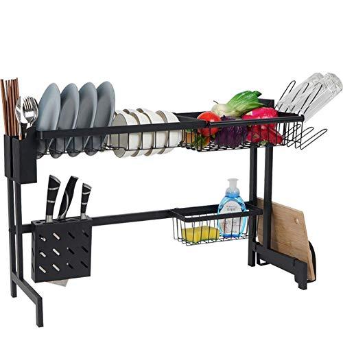MRZHW Küche Abtropfgestell für die Küche, Abtropfgestell mit Besteckkasten und Tellerständer Lagerung Zähler Organizer Edelstahl Anzeige- A
