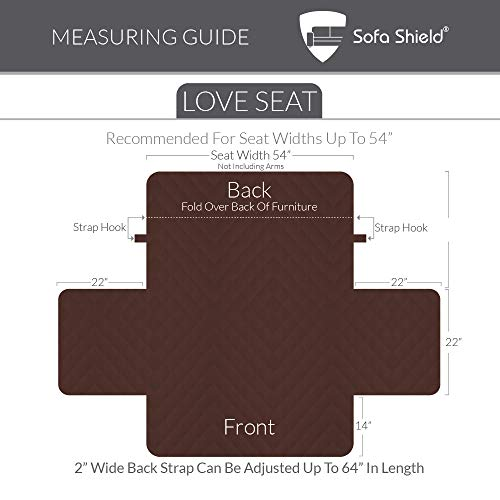 """The Original SOFA SHIELD Reversible Couch Slipcover Furniture Protector, 2 Inch Elastic Strap, Machine Washable, Cover Perfect for Pets and Kids, Seat Width Up to 54"""" (Loveseat: Chocolate/Beige)"""