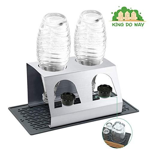 king do way Sodastream Abtropfhalter Abtropfständer aus Edelstahl, mit Abtropfmatte Abtropfschale Herausnehmbare, Platzsparend für 2 Flaschen Flaschen, Crystal