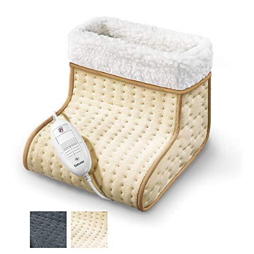 Beurer FW20 Cosy calientapies apto para pies grandes, calentamiento ultrarápido, suave, transpirable, interior lavable a mano, 3 potencias, display iluminado,  32 x 26 x 26 cm, crema y blanco