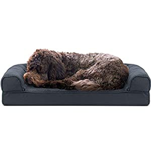 Furhaven Pet Dog Bed – Cooling Gel Memory Foam Quilted Traditional Sofa-Style Living Room Couch Pet Bed with Removable Cover for Dogs and Cats, Iron Gray, Medium
