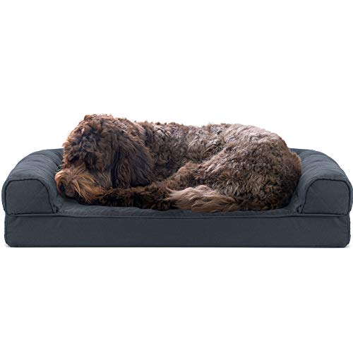 Furhaven Pet Dog Bed - Cooling Gel Memory Foam Quilted Traditional Sofa-Style Living Room Couch Pet Bed with Removable Cover for Dogs and Cats, Iron Gray, Medium