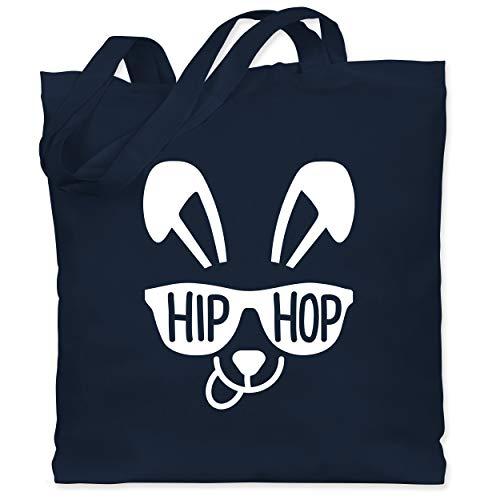 Shirtracer Ostern - HipHop Hase mit Sonnenbrille Schriftzug - weiß - Unisize - Navy Blau - XT600_Jutebeutel_lang - WM101 - Stoffbeutel aus Baumwolle Jutebeutel lange Henkel