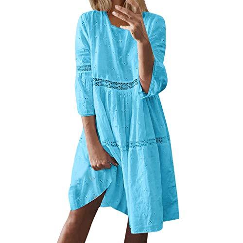 Vestidos Mujer Verano 2019 Nuevo SHOBDW Vestidos Playa Boho Casual Manga 3/4 Cuello Redondo Suelto Color Sólido Retro Vestidos de Fiesta Mujer Cortos Talla Grande(Azul,S)