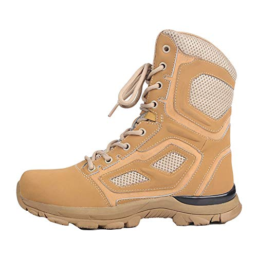 Mens Military Combat Boot Army Patrol Hiking Cadet Work High Leather Boot,Sand color-45
