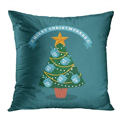 Moladika Throw Pillow Cover Square 20 x 20 Inch Hanukkah Merry Christmukkah Christmas Tree Dreidels Cushion Home Decor Living Room Sofa Bedroom Office Polyester Pillowcase