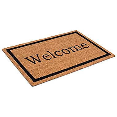 BirdRock Home Welcome Coir Doormat | 24 x 36 Inch | Oversized Welcome Mat with Black Border and Natural Fade | Vinyl Backed | Outdoor